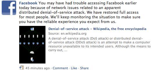 Facebook und twitter Opfer von Denial-of-Service Attacken