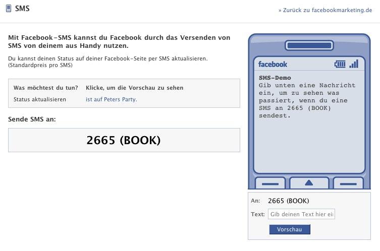 Statusupdates für Profile und Pages per Handy setzen