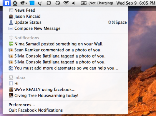 Facebook Mac Applikation - Quelle: TechCrunch.com