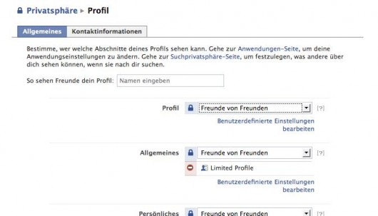 Facebook Profil Privacy