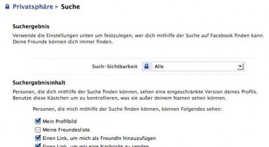 Einschränkung der Auffindbarkeit in der Facebook Suche