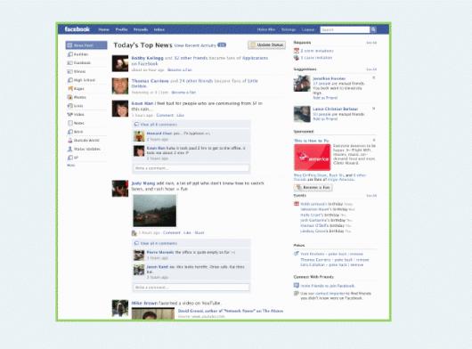 Facebook Homepage Redesign (Quelle: Mashable.com)