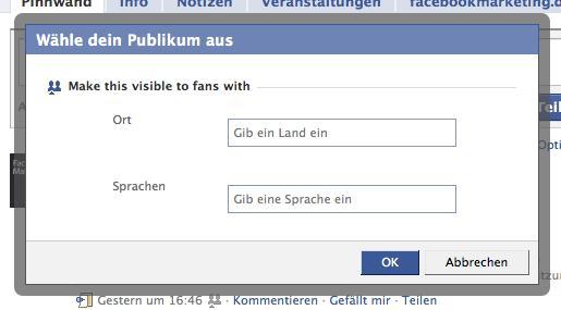 Facebook Status Update Targeting