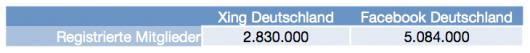 Xing & Facebook, Registrierte Nutzer in Deutschland