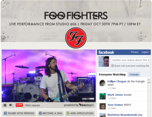 Foo Fighters Konzert mit Facebook Livestream Box