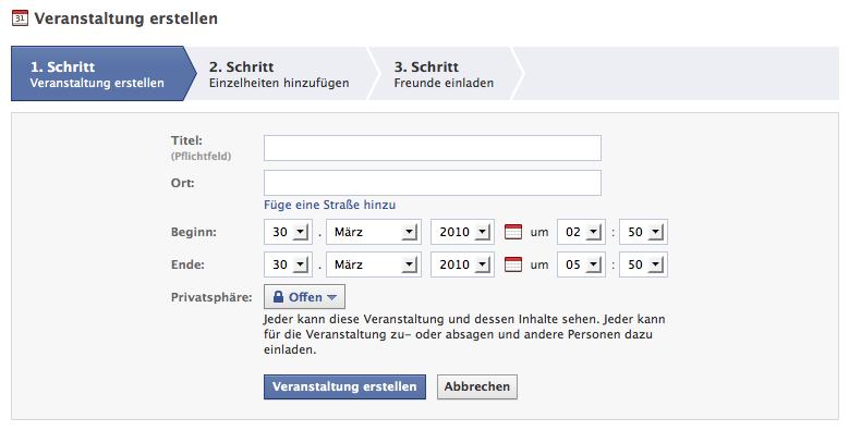Tutorial: Facebook Events für die eigene Fanpage erstellen