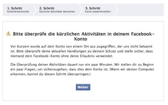 Facebooks Schutz vor Hackern