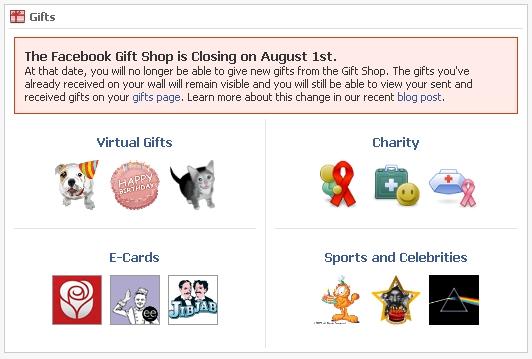 Schluss mit den Geschenken – Facebook killt den Geschenkeshop zum ersten August