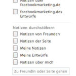 Facebook Notes Menü