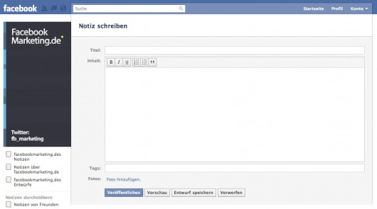 Der neue Facebook Notes Editor