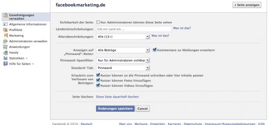 """Administration """"Genehmigungen verwalten"""": Bearbeiten der Einschränkungen der Facebook Page sowie festlegen des Standard Tabs."""