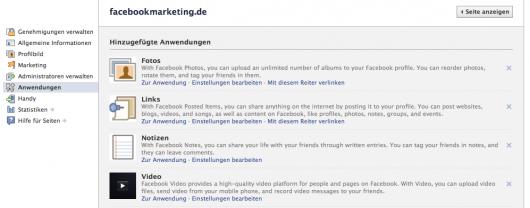 """Administration """"Anwendungen"""": Hinzufügen von neuen Anwendungen zur Facebook Page oder bearbeiten von vorhanden Apps"""
