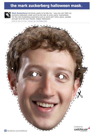Halloween: Die Mark Zuckerberg Maske zum ausdrucken.