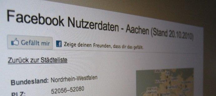 Facebook Nutzerzahlen nach Städten