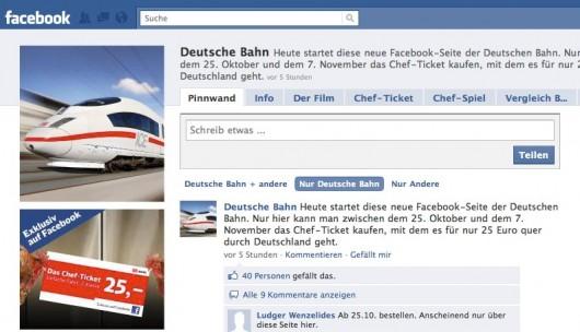Die Bahn auf Facebook - Screenshot vom Kampagnenstart