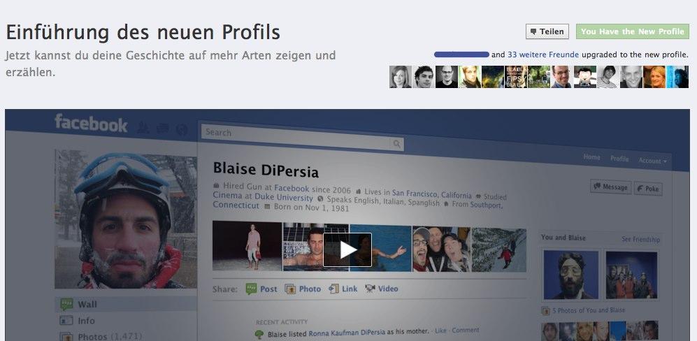 Die neue Facebook Profilseite – Jetzt umschalten