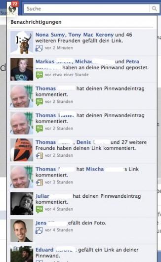 Neue Aktivitäten auf der Facebook Page werden unter Notifications angezeigt - wie auch im privaten Profil