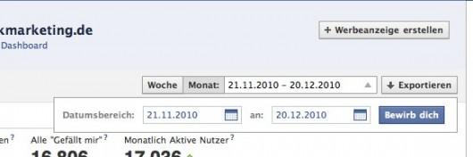 Facebook Insights - Zeitraum auswählen