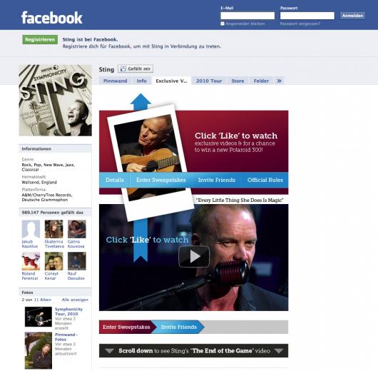 Sting auf Facebook - Im alten Design mit Tabs aber ohne Musikplayer