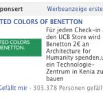Benetton Facebook Anzeige zum Angebot