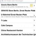 Ansicht des Gravis Places in der Iphone App - Der Deal wird durch den gelben Marker angezeigt