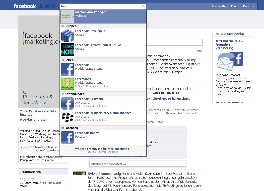 Facebook testet Kategorien in der Suche