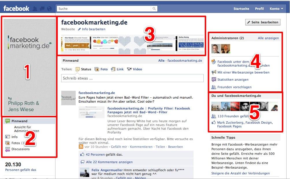 Das neue Design der Facebook Pages im Überblick