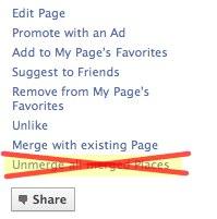 Achtung: Trennen von Facebook Seiten und Facebook Orten nicht mehr möglich (Unmerge Pages – Places) – Update: Verbinden ist derzeit auch nicht möglich.