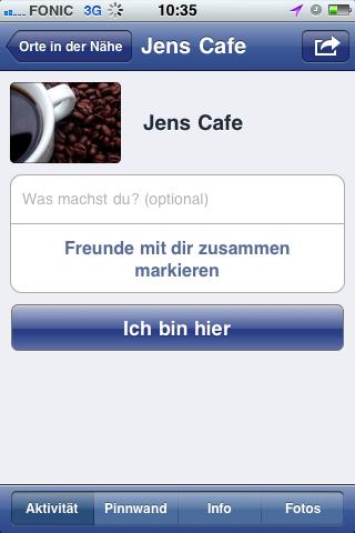 Darstellung eines Facebook Places auf dem iPhone