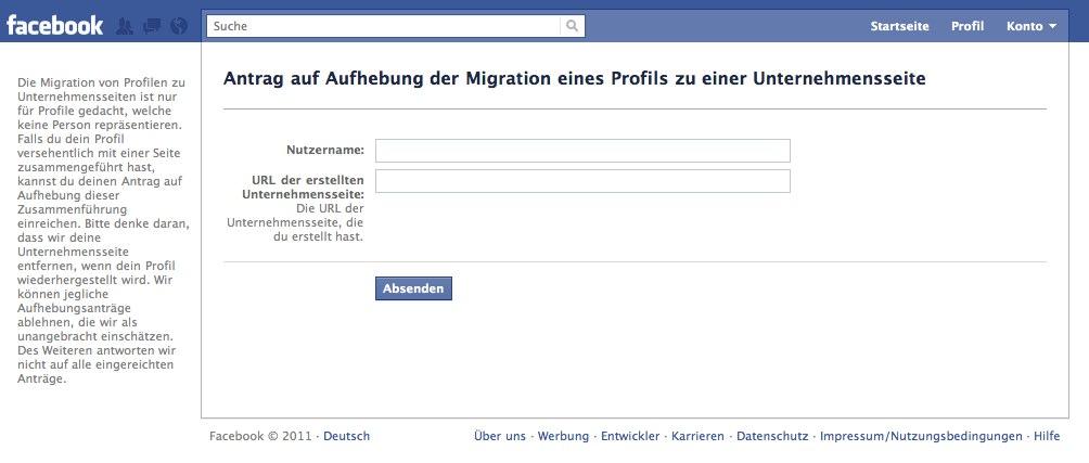 Profil zu Page Migration rückgängig machen