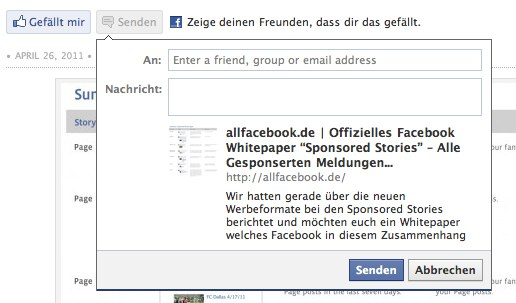 Der Facebook Senden Button in Aktion