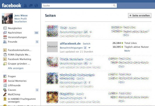 Neues Pages Dashboard