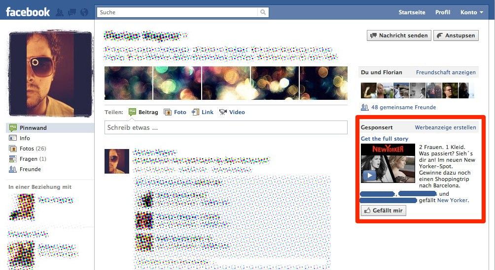 Facebook Premium Ads jetzt auch auf Profilseiten?