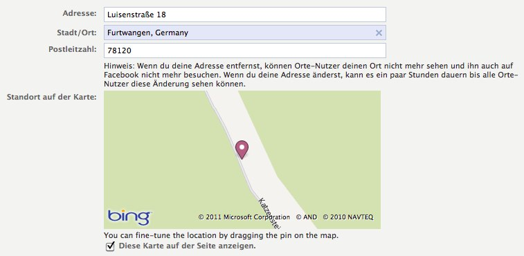 Alles zur Bing Map bei Facebook Places
