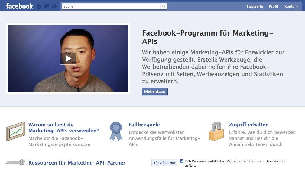 Facebook launcht Seite für die Marketing-API
