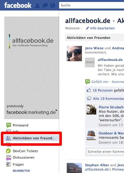 """Pages: Jetzt auch mit """"Aktivitäten von Freunden"""""""