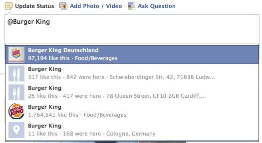 Workaround: Jede Facebook Seite im Statusupdate verlinken