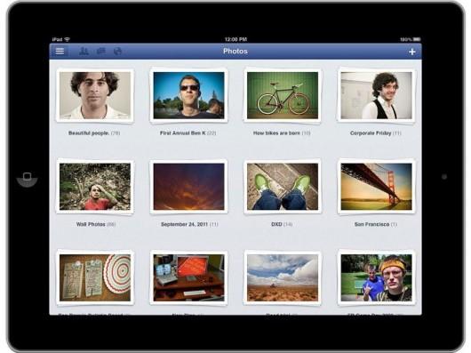 Ansicht aller Facebook Fotoalben in der iPad App