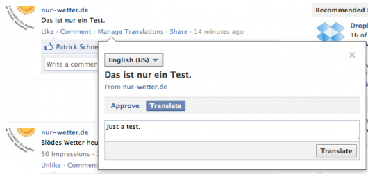 Übersetzung hinterlegen