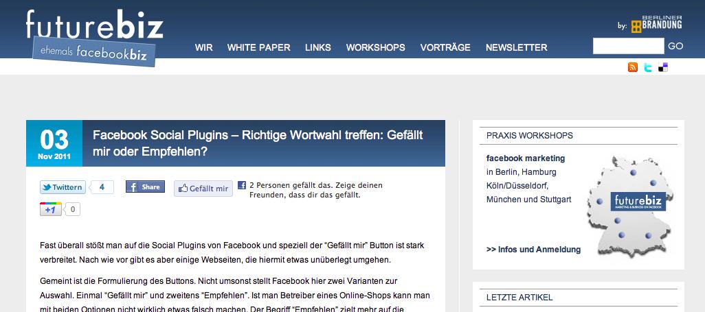 Blogosphäre: facebookbiz.de heißt jetzt futurebiz.de