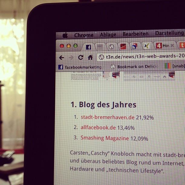 In eigener Sache: Platz 2 im t3n Award für allfacebook.de