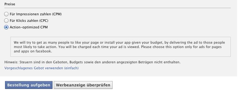 """Facebook testet Ads mit """"action optimiced CPM"""" – Anzeigen werden nur an Nutzer ausgeliefert die wahrscheinlich auch klicken."""