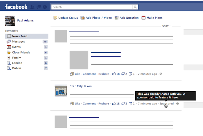 Ab 2012: Facebook startet mit Werbung (Sponsored Stories) im Newsfeed