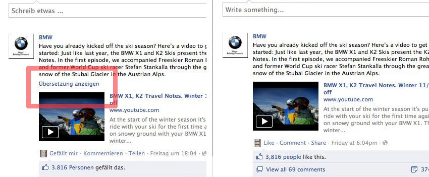 """""""Übersetzung anzeigen"""" – Neue Version der Übersetzungsfunktion von Facebook Pages"""
