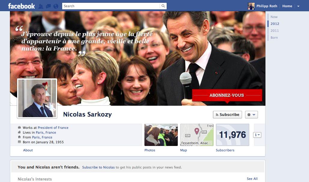 Die Facebook Timeline für Politiker am Beispiel von Nicolas Sarkozy