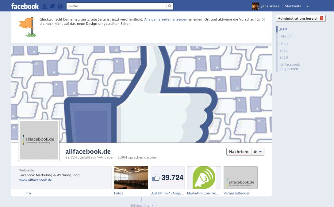 (BREAKING) fmc 2012: Facebook Pages ab sofort mit Timeline!