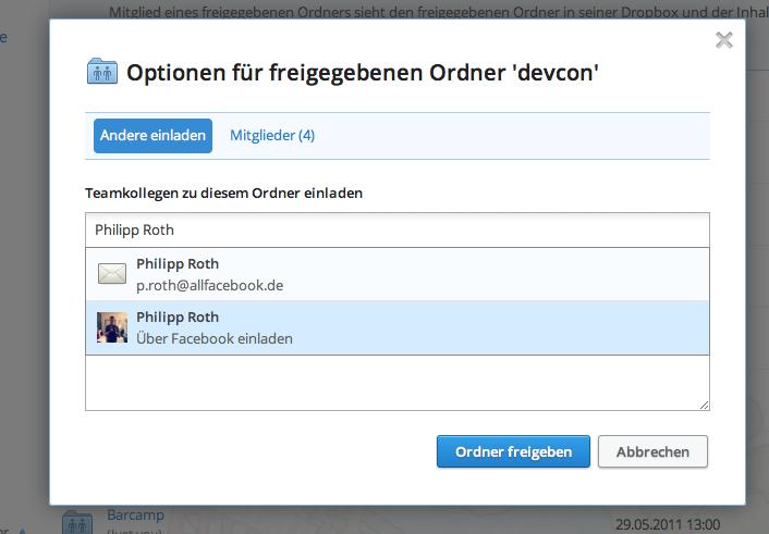 Dropbox integriert Facebook