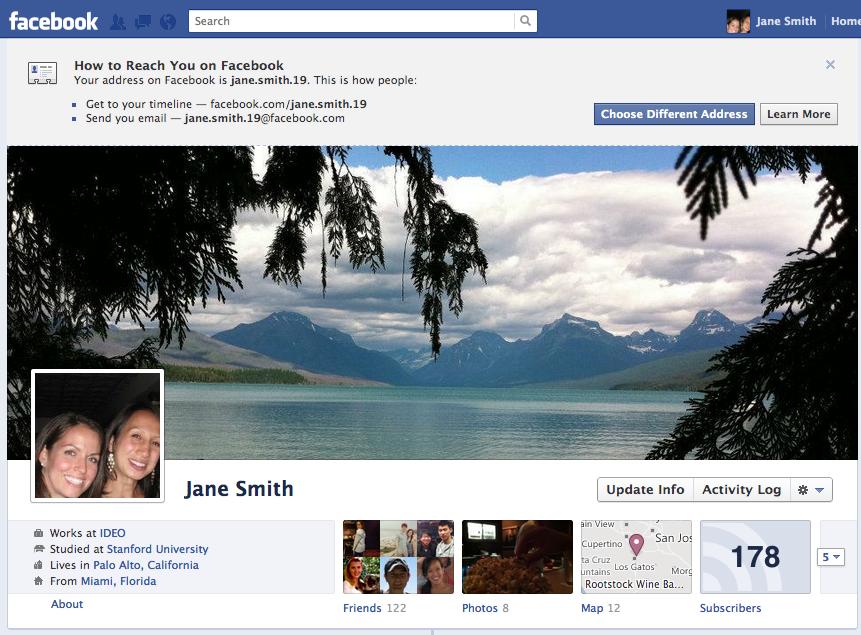 Alle Facebook Nutzer erhalten automatisiert eine E-Mailadresse und Vanity-URL