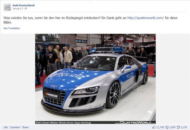 Für Messezwecke zum Polizeiauto umgebauter Audi R8 als erfolgreichster organischer Beitrag auf der Audi DE Facebook Seite
