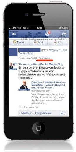 Facebook Werbung im Newsstream: Ab jetzt auch auf dem Handy